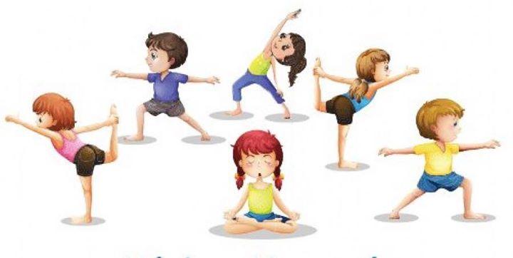 Ilustración de niños practicando yoga