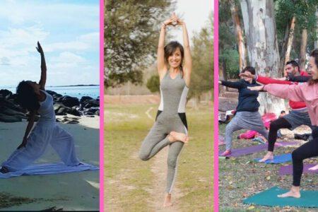 Laura con diferentes tipos de ropa para practicar Yoga